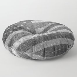 US flag, Old Glory in black & white Floor Pillow