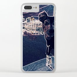 Min Pin on a boat Clear iPhone Case