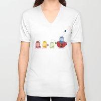 tea V-neck T-shirts featuring tea by Emma Harckham