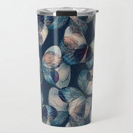 Dark blue pattern of butteflies Travel Mug