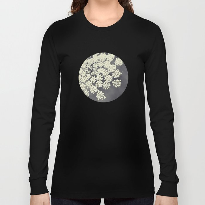 Black and White Queen Annes Lace Long Sleeve T-shirt
