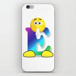 Letter E Alphabet Smiley Monogram Face Emoji Shirt for Men Women Kids iPhone Skin