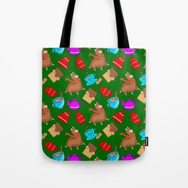 Cute winter pattern. Happy llamas, sweet chocolate bars, red woolen mittens, hot cocoa, marshmallows Tote Bag