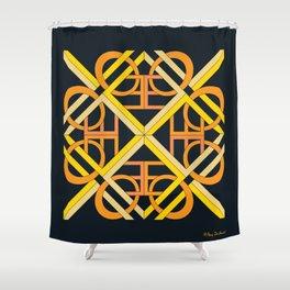 Interlaced Love Mandala - Black Gold Shower Curtain