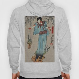 Doguya Jinza Hokaibo Bokon Shimobe Gunsuke by Utagawa Kuniyoshi (1798-1861) a woodcut triptychs of t Hoody