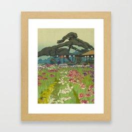 Iris Garden in Horikiri Hiroshi Yoshida Modern Japanese Woodblock Print Framed Art Print