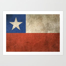 Old and Worn Distressed Vintage Flag of Chile Art Print