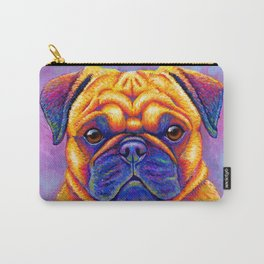 Colorful Rainbow Pug Portrait Carry-All Pouch