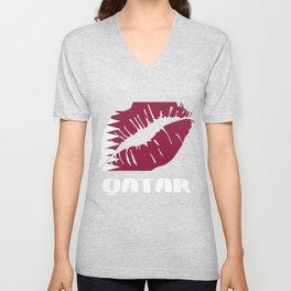 QAT Qatar Kiss Lips T Shirt Unisex V-Neck