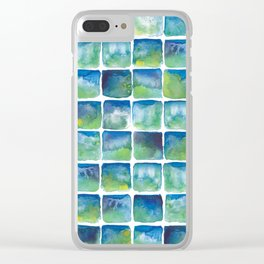 Blue and Green Watercolor Tiles, small Clear iPhone Case