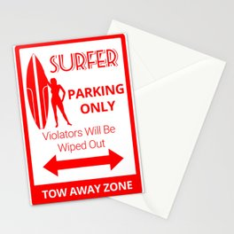 Surfer Girl Parking Only Stationery Cards