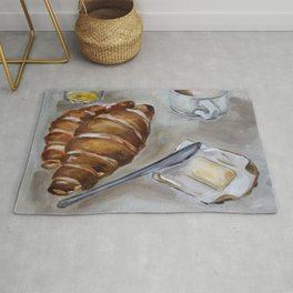 French breakfast, coffee and croissant, original oil painting, daily traditional art Rug