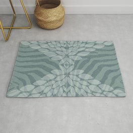 Zebra pattern with leaves Rug