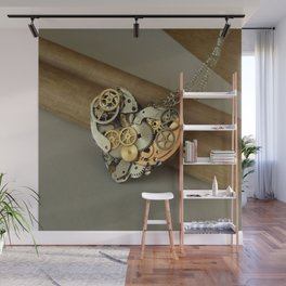 Steampunk Heart of Gold and Silver Wall Mural