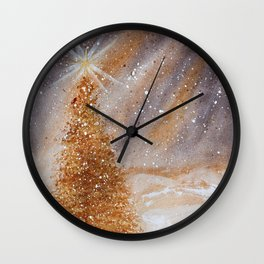 Magical Gold Christmas Tree in Snowy Night Watercolor Wall Clock