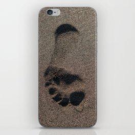 Footprint on the beach sand iPhone Skin