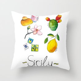 Signs of Sicily Throw Pillow