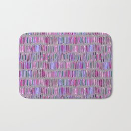 Messy Watercolor Stripes in Pink and Purple Bath Mat