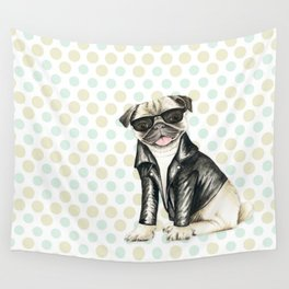 Puppy With Glasses Very Cute Wall Tapestry