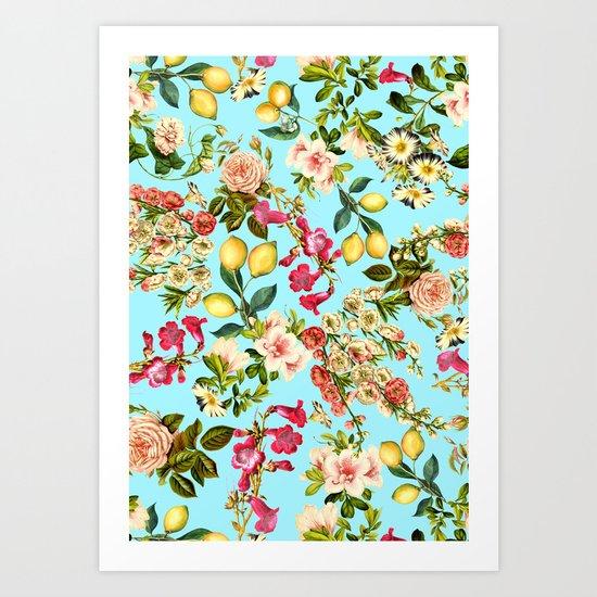 Lemon and Leaf Pattern IV Art Print