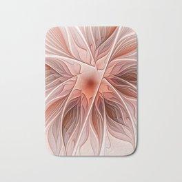 Flower Decoration, Abstract Fractal Art Bath Mat