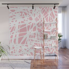 Blush pink white abstract whimsical pop art pattern Wall Mural