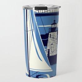 Newport Rhode Island Sailboat Lighthouse Retro Vintage nautical  Travel Mug