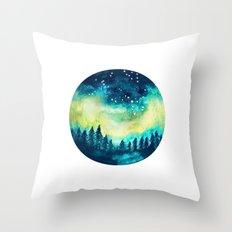 Aurora Borealis Circle Throw Pillow