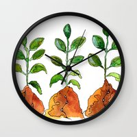 succulents Wall Clocks featuring Succulents by Gosia&Helena