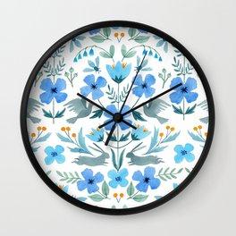 Blue Flower & Animal Pattern Wall Clock