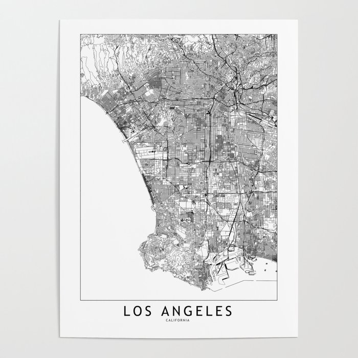 Los Angeles White Map Poster
