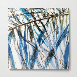 leaves in blue Metal Print