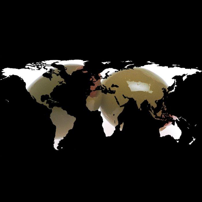 World Map Silhouette - Martini Olives Duvet Cover
