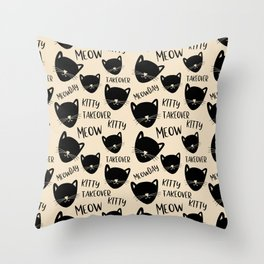 Funny black ivory kitty cat modern typography Throw Pillow