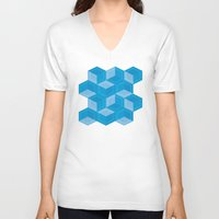 escher V-neck T-shirts featuring Escher #008 by rob art | simple