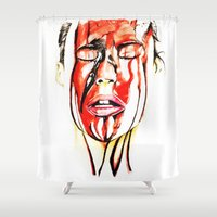 blood Shower Curtains featuring Blood by Janelopez