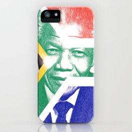 Nelson Mandela with South Africa flag iPhone Case
