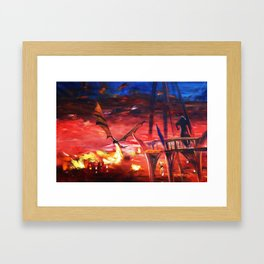 Dragon attacks Lake-town 110x160 cm S053 Large impressionism acrylic painting on unstretched canvas Framed Art Print