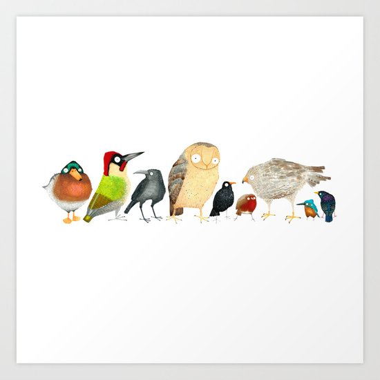 Woodland Bird Collection Art Print By Rhian Wright Society6