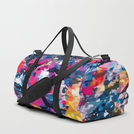 psychedelic geometric triangle pattern abstract in blue pink red yellow Duffle Bag