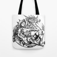 beauty and the beast Tote Bags featuring Beauty and the beast by misscrocodile63/drawings/photo/paintings