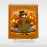 scott pilgrim Shower Curtains featuring Thanksgiving Turkey Pilgrim by Gravityx9