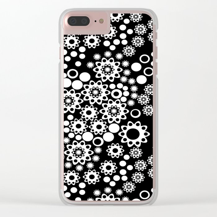 Black / white fishnet Lace pattern Clear iPhone Case