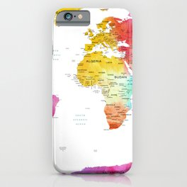 Watercolour World Map iPhone Case