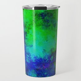 Awaken - Blue, green, abstract, textured painting Travel Mug