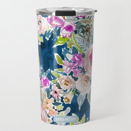 NAVY SO LUSCIOUS Colorful Watercolor Floral Travel Mug
