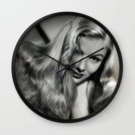 Peekaboo Hairdo of Veronica Lake, Hollywood Starlet black and white photograph / black and white photography Wall Clock