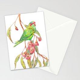 Musk Lorikeet and eucalyptus flowers Stationery Cards