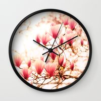 cherry blossoms Wall Clocks featuring Cherry Blossoms by Vivienne Gucwa
