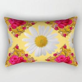 PINK ROSE & WHITE DAISIES YELLOW GARDEN ART Rectangular Pillow